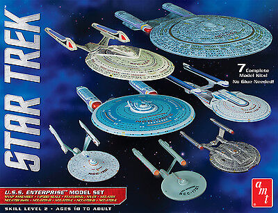 AMT 1/2500 Star Trek U.S.S. Enterprise 7 Piece NX-01 To NCC-1701E model kits 954