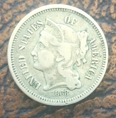 1868 3 Cent Us Coin Nickel 3c