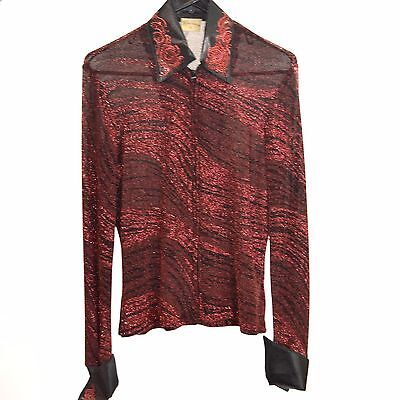 Used Performance Collection Western Show Shirt - Blck/red - Sz Large #78577