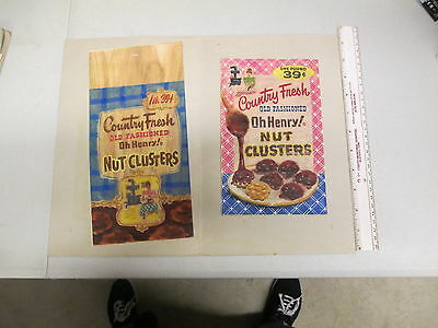 Williamson Candy bar company 1950s original art (2) OH HENRY NUT CLUSTERS box