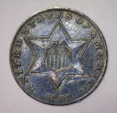 1858 Three Cent Silver Type Coin 3cS Die Clash Noted ~ About Uncirculated AU
