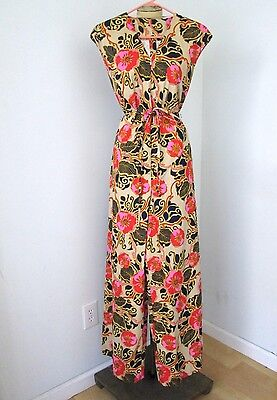 MINTY Vtg 60s Neon Pink Gold Mod Floral Hawaiian WIde Leg Jumpsuit Belted S/M