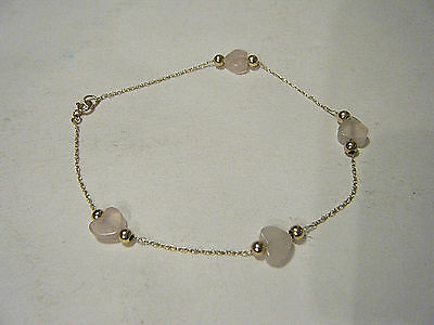 Pretty Vtg Delicate 10K Chain Bracelet With Small Pink Quartz Heart Beads 7""