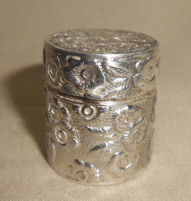 900 Silver Antique Thimble Holder Box Repousee With Loop