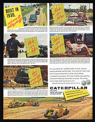 1954 Caterpillar Tractor Motor Grader Outdated Roads Loss Vintage Photo Print Ad