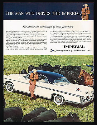 1956 Chrysler Imperial Car Black Angus Cows Cattle Vintage Photo Print Ad