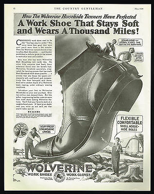 1930 Wolverine Work Shoes Boots Horsehide Shell Vintage B&W Print Ad