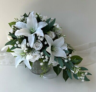 Silk Wedding Bouquet White Lily Roses White Babies Breath Teardrop Flowers Set