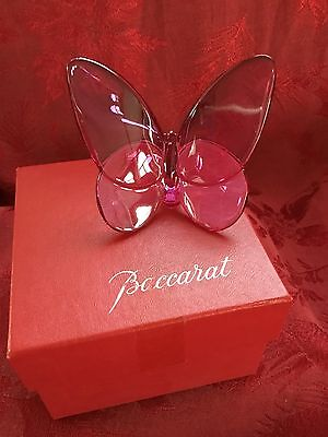 MIB FLAWLESS Exquisite BACCARAT Peony Crystal Papillon LUCKY BUTTERFLY Figurine