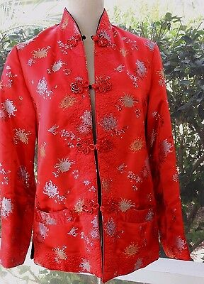 Reversible Chinese Jacket Red Print/Black/Frog Closures Size Small