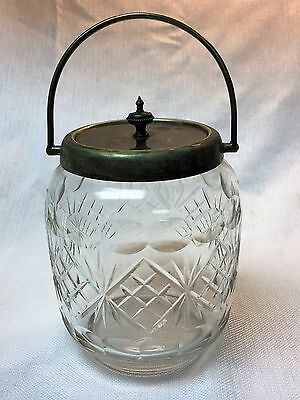 Vintage Wm Briggs Sheffield Cut Glass and Silver Plated Pickle Jar