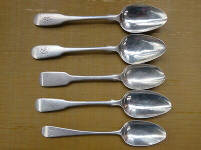 Five Antique Sterling English Silver Tea Spoons  19Th Century And Pre ?
