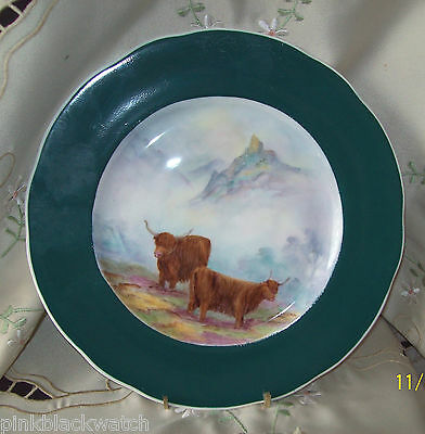 Highland Cattle Hand Painted Porcelain 24cm Plate with Green Rim