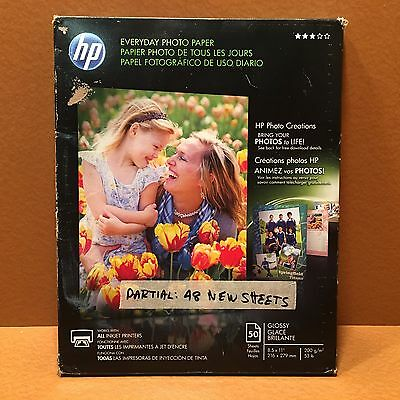 HP Everyday Photo Paper Glossy 8 1/2 x 11, PARTIAL PACK 48 Sheets White