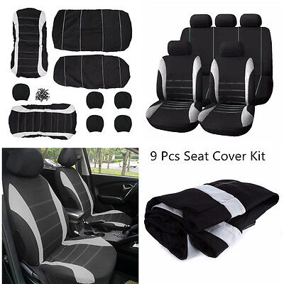 Car Seat Covers Universal For 5-Seats Seat Cover Gray & Black Polyester 9pcs Kit
