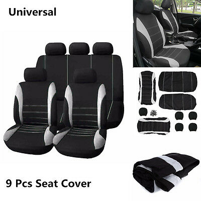 Auto Sedan Seat Covers Polyester Protector Front + Rear 5-Seats Cover 9 Pcs Kit