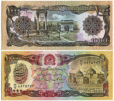 Lot Of 2 Banknotes 1000 & 100 Afghanis 1979-1991 Afghanistan Bank Uncirculated
