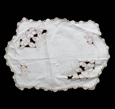 Vintage cream butterfly embroidered lace trim large doily mat measuring 40cm