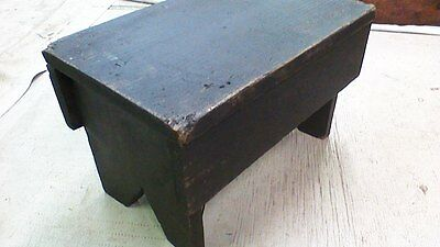 Antique Primitive Foot Stool Bench ~ Old black/brown paint~ Country