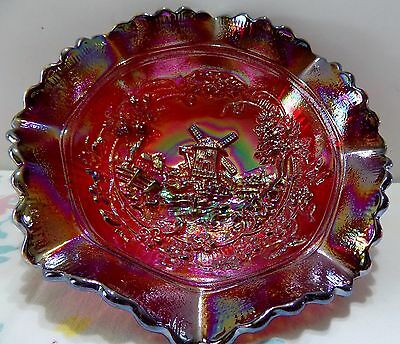 Vintage L E Smith Glass Windmill Ruby Red Carnival Bowl  Mint
