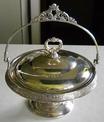 VINTAGE PAIRPOINT MFG Co QUADRUPLE SILVER PLATED BRIDES  BASKET W/LID AND HANDLE