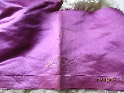 Antique French Silk Cotton Gilted Gold Motif Liturgical Fabric Frag Orchid
