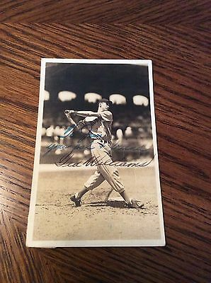 1939 Ted Williams Rookie Signed George Burke Red Sox Baseball Photo Postcard