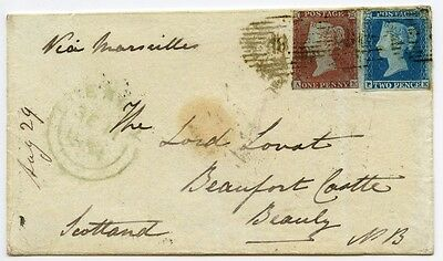 1854 cover with 1841 1d + 2d issues from the Crimea to Beauly, Scotland.