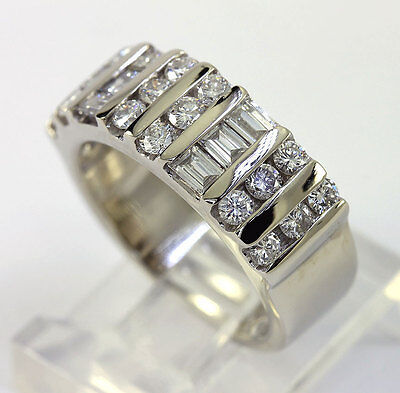 Diamond wedding band anniversary ring 14K white gold F-G rounds baguettes 1.15CT