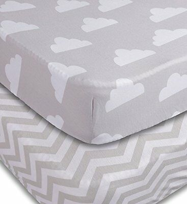 Playard Sheets 2 Pack Fitted Soft Jersey Cotton Playpen Sheet Bedding Babies
