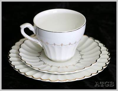 Vintage J&G Meakin 1950s Classic White gilded trio cup saucer plate set