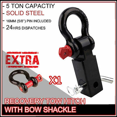 NEW RECOVERY TOW BAR HITCH RECEIVER 5T RATED WITH BOW SHACKLES 4WD 4x4 OFFROAD