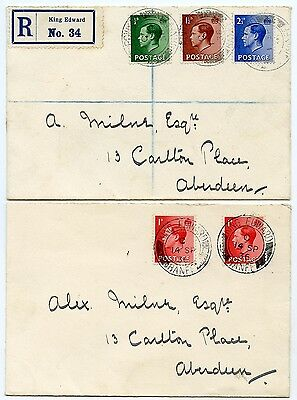 1936 covers with ½d, 1½d and 2½ds and 2 x 1d Edward VIII  on First Day Covers