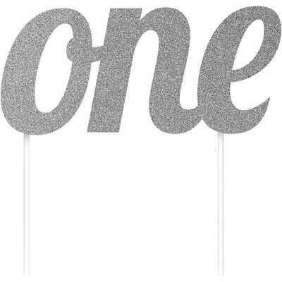 Silver One 1 Glitter Cake Topper Decoration Age Birthday Party Supplies