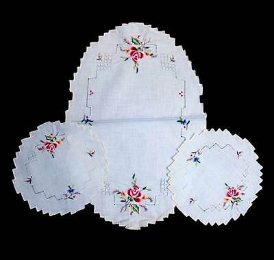 Vintage pretty pale blue red roses embroidered 3 pc duchess set