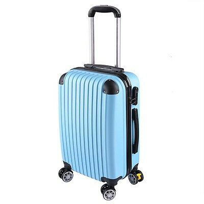"""20"""" Luggage Travel Bag Trolley Suitcase ABS + PC Wheels Rolling w/Code Blue"""