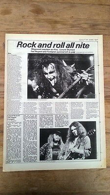KISS  LYNYRD SKYNYRD concert reviews 1977 UK ARTICLE / clipping