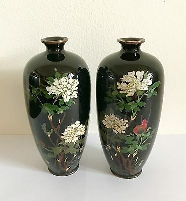 A Pair of Antique Silver Wire Japanese Cloisonné Vases - Meiji Period