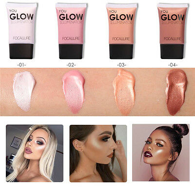 Face Contour Brightener Glow Gold Shimmer Liquid Highlighter Makeup Foundation