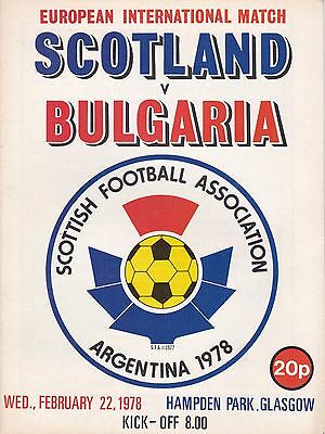 SCOTLAND v BULGARIA ~ 22 FEBRUARY 1978 ~ INTERNATIONAL FRIENDLY