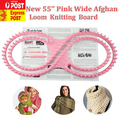 """NEW 55""""Pink Wide Afghan Loom Knitting Board 8-shaped with Instruction 3 Projects"""