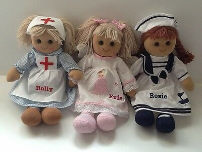 Beautiful Personalised Rag Doll. 40cm. Nurse, Sailor or Angel. Great Gift