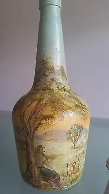 VINTAGE AUSTRALIAN FOLK ART ON BOTTLE, (c1940s ?)  SIGNED, BALCOMBE. INTERESTING