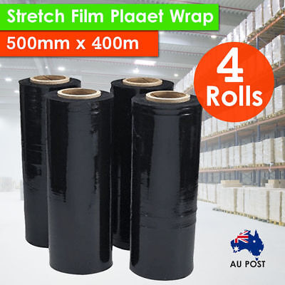 4x Rolls 500mm x 400m 20UM BLACK Stretch Film Pallet Wrap Carton Wrapping Shrink
