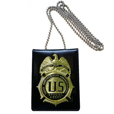 US DEA ATF CIA Officer Special Agent CIA Badge + ID Card Holder Collection Clip