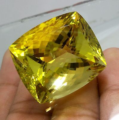 121.9 Crt 31x27x22 MM Top Quality Natural Yellow Lemon Quartz Cushion Cut Stone