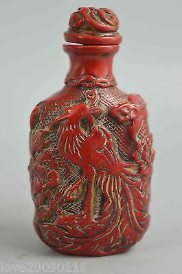 Collectible Handwork Old Coral Carve Phoenix Flower Dance Fortunaet Snuff Bottle
