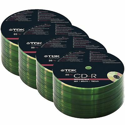 100 Cd Pack Tdk Cdr Blank 80 Mins 52X 700Mb Discs Cd-R Recordable Cd (100)