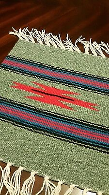 Chimayo 100 % Wool Textile Mat  10  x 10 Green  & Red Weaving Made in N.M