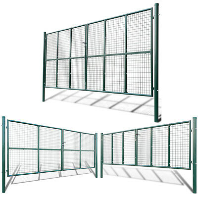 Mesh Garden Fence Gate Dark Green Galvanised Steel Backyard Patio Multi Sizes
